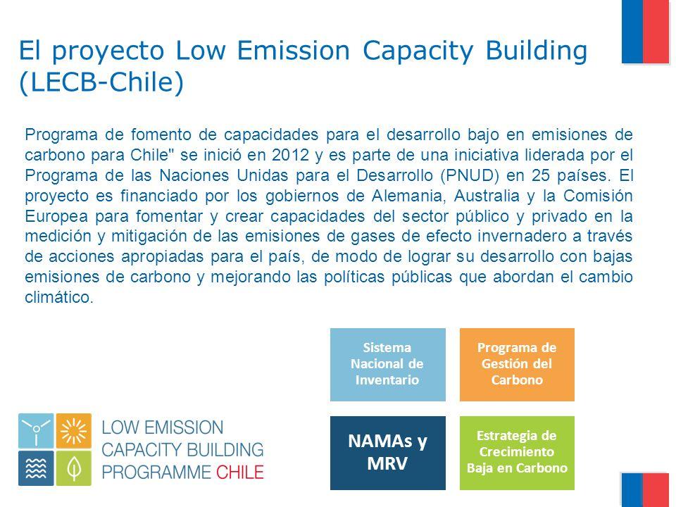 El proyecto Low Emission Capacity Building (LECB-Chile) Programa de fomento de capacidades para el desarrollo bajo en emisiones de carbono para Chile se inició en 2012 y es parte de una iniciativa liderada por el Programa de las Naciones Unidas para el Desarrollo (PNUD) en 25 países.