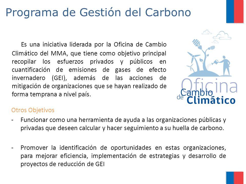 Programa de Gestión del Carbono Es una iniciativa liderada por la Oficina de Cambio Climático del MMA, que tiene como objetivo principal recopilar los esfuerzos privados y públicos en cuantificación de emisiones de gases de efecto invernadero (GEI), además de las acciones de mitigación de organizaciones que se hayan realizado de forma temprana a nivel país.