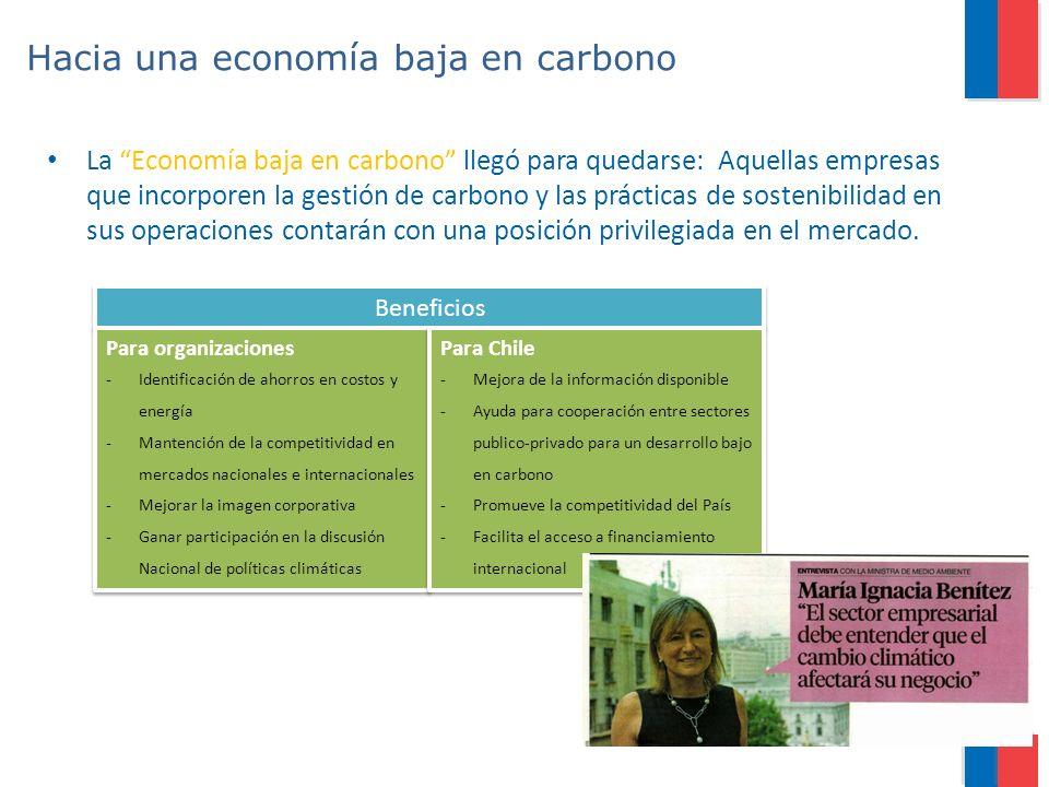 Hacia una economía baja en carbono La Economía baja en carbono llegó para quedarse: Aquellas empresas que incorporen la gestión de carbono y las práct