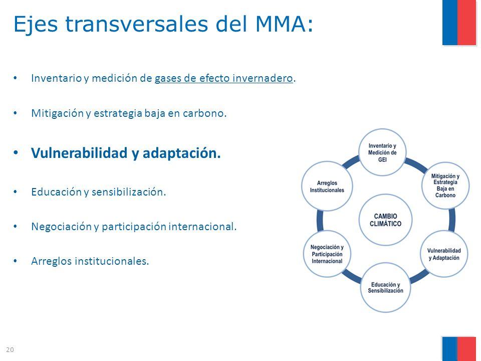 Ejes transversales del MMA: Inventario y medición de gases de efecto invernadero. Mitigación y estrategia baja en carbono. Vulnerabilidad y adaptación
