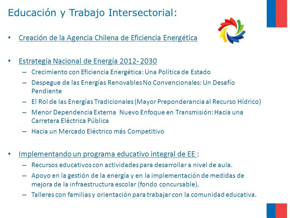 Educación y Trabajo Intersectorial: Creación de la Agencia Chilena de Eficiencia Energética Estrategia Nacional de Energía 2012- 2030 – Crecimiento co