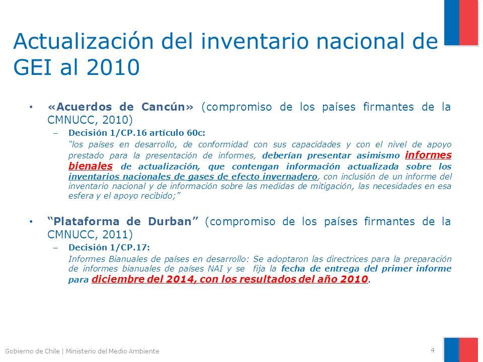 Gobierno de Chile | Ministerio del Medio Ambiente Actualización del inventario nacional de GEI al 2010 4 «Acuerdos de Cancún» (compromiso de los paíse