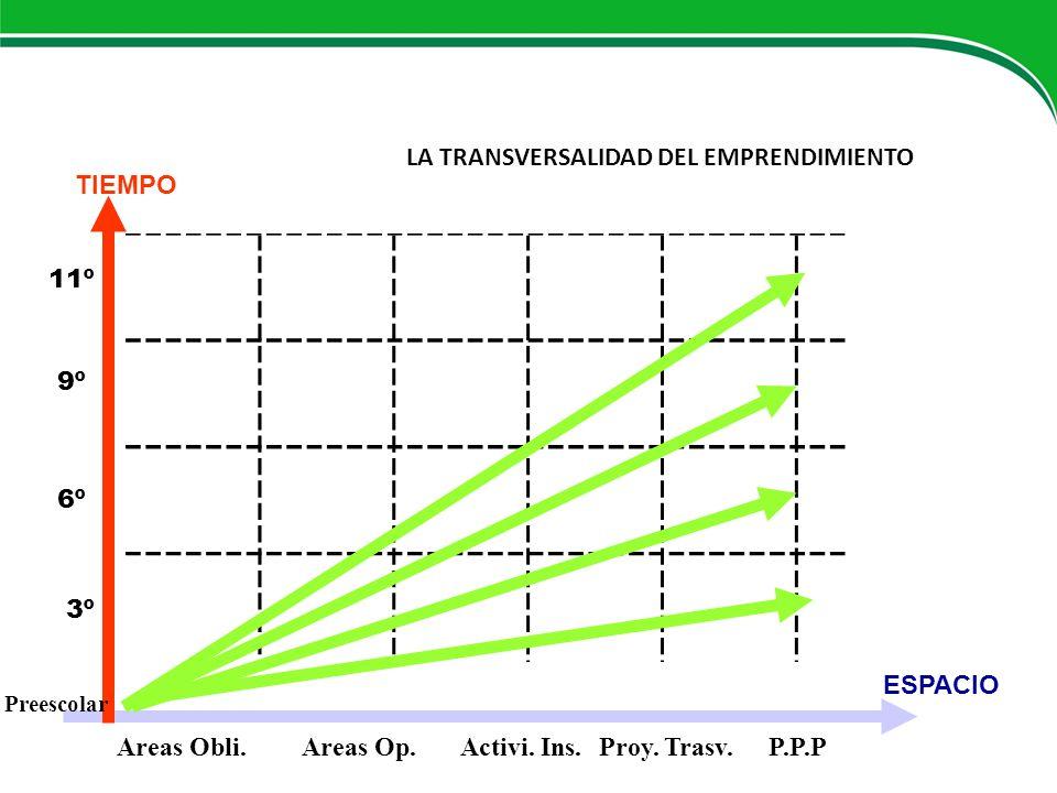 LA TRANSVERSALIDAD DEL EMPRENDIMIENTO Areas Obli.Areas Op.Activi. Ins. Proy. Trasv.P.P.P ESPACIO 3º 6º 9º 11º TIEMPO Preescolar