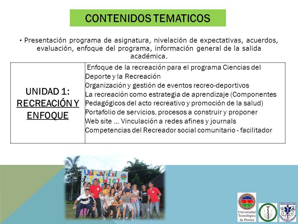 UNIDAD 1: RECREACIÓN Y ENFOQUE Enfoque de la recreación para el programa Ciencias del Deporte y la Recreación Organización y gestión de eventos recreo