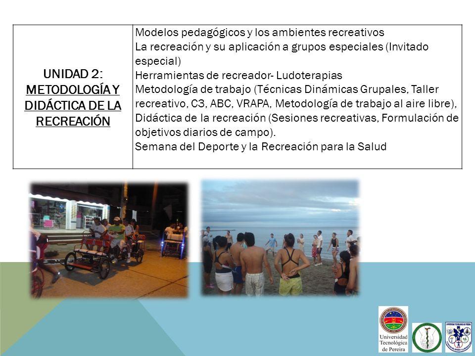UNIDAD 2: METODOLOGÍA Y DIDÁCTICA DE LA RECREACIÓN Modelos pedagógicos y los ambientes recreativos La recreación y su aplicación a grupos especiales (