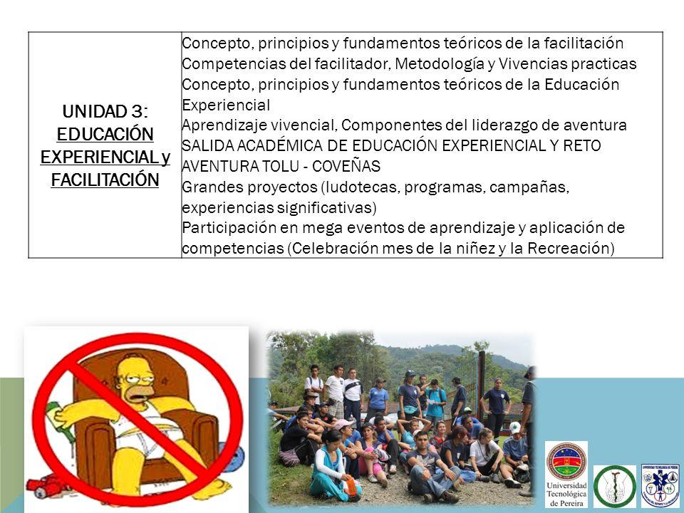 UNIDAD 3: EDUCACIÓN EXPERIENCIAL y FACILITACIÓN Concepto, principios y fundamentos teóricos de la facilitación Competencias del facilitador, Metodolog