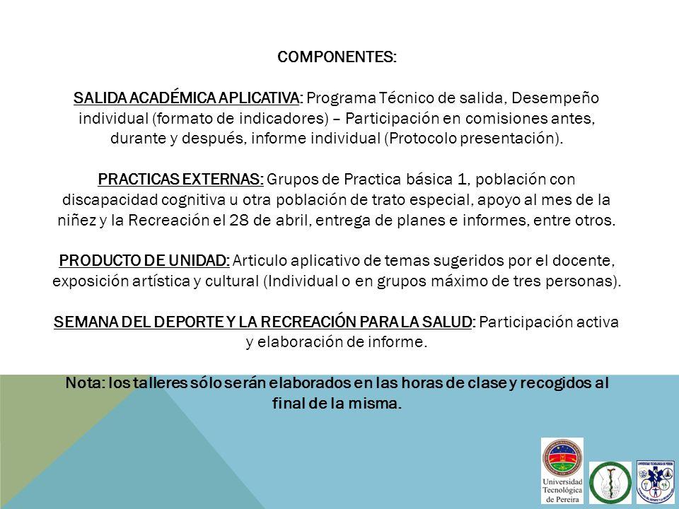 COMPONENTES: SALIDA ACADÉMICA APLICATIVA: Programa Técnico de salida, Desempeño individual (formato de indicadores) – Participación en comisiones ante