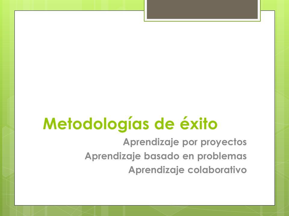 Metodologías de éxito Aprendizaje por proyectos Aprendizaje basado en problemas Aprendizaje colaborativo