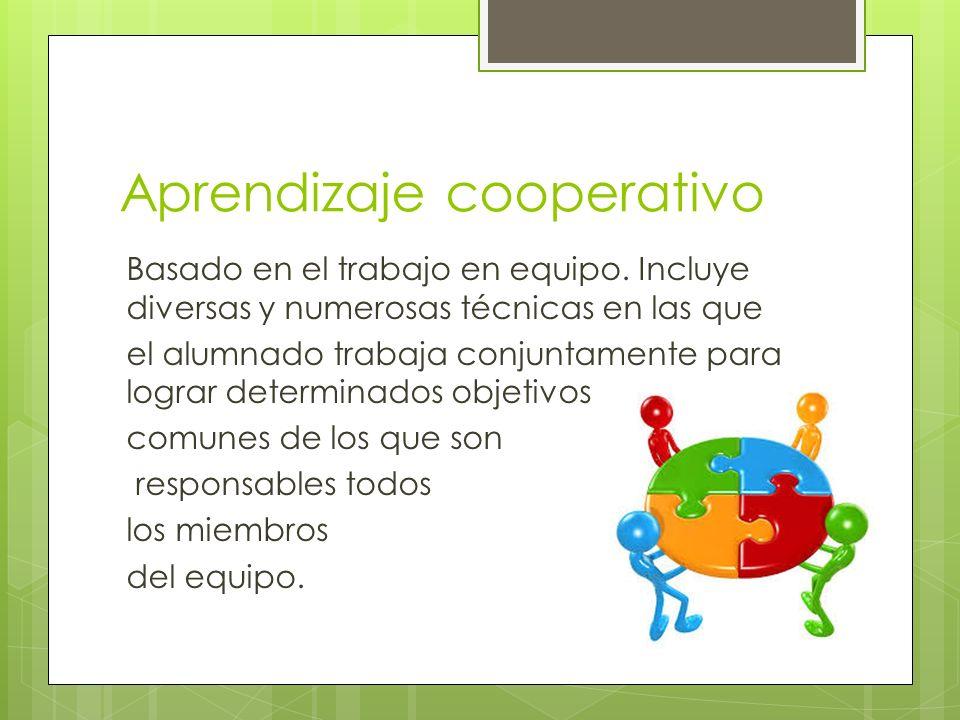 Aprendizaje cooperativo Basado en el trabajo en equipo. Incluye diversas y numerosas técnicas en las que el alumnado trabaja conjuntamente para lograr