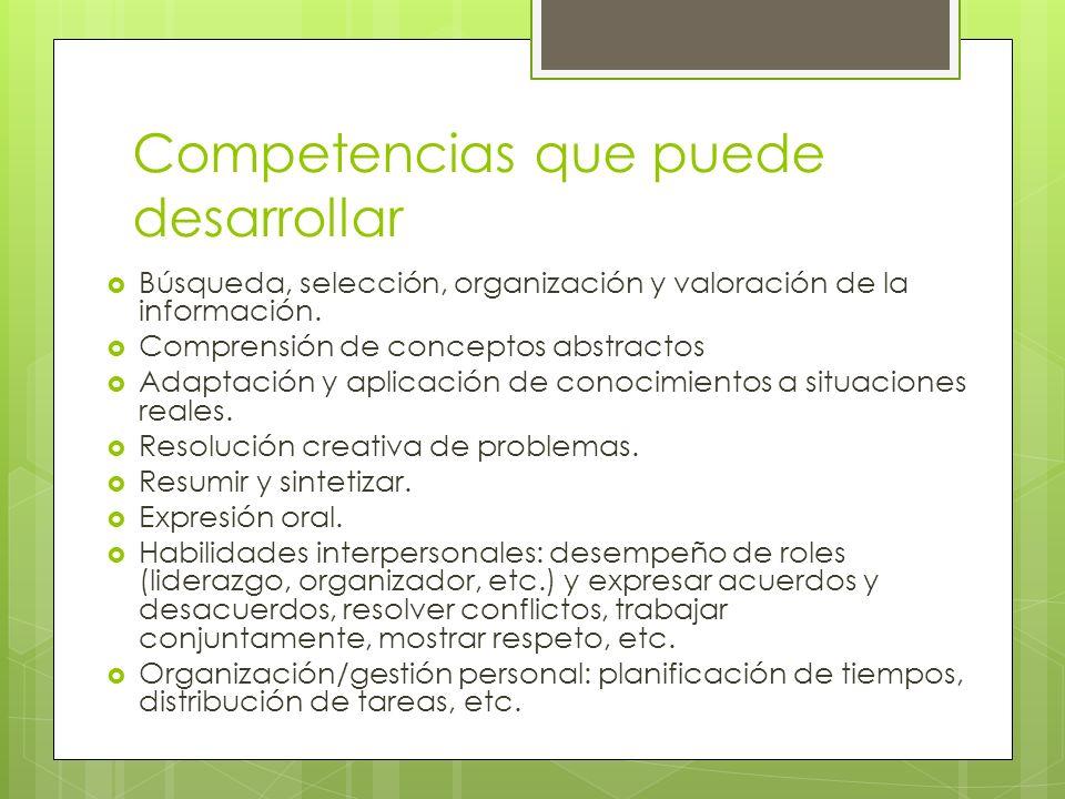 Competencias que puede desarrollar Búsqueda, selección, organización y valoración de la información. Comprensión de conceptos abstractos Adaptación y