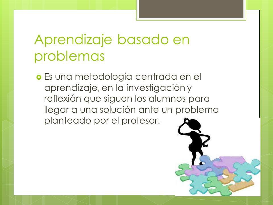 Aprendizaje basado en problemas Es una metodología centrada en el aprendizaje, en la investigación y reflexión que siguen los alumnos para llegar a un