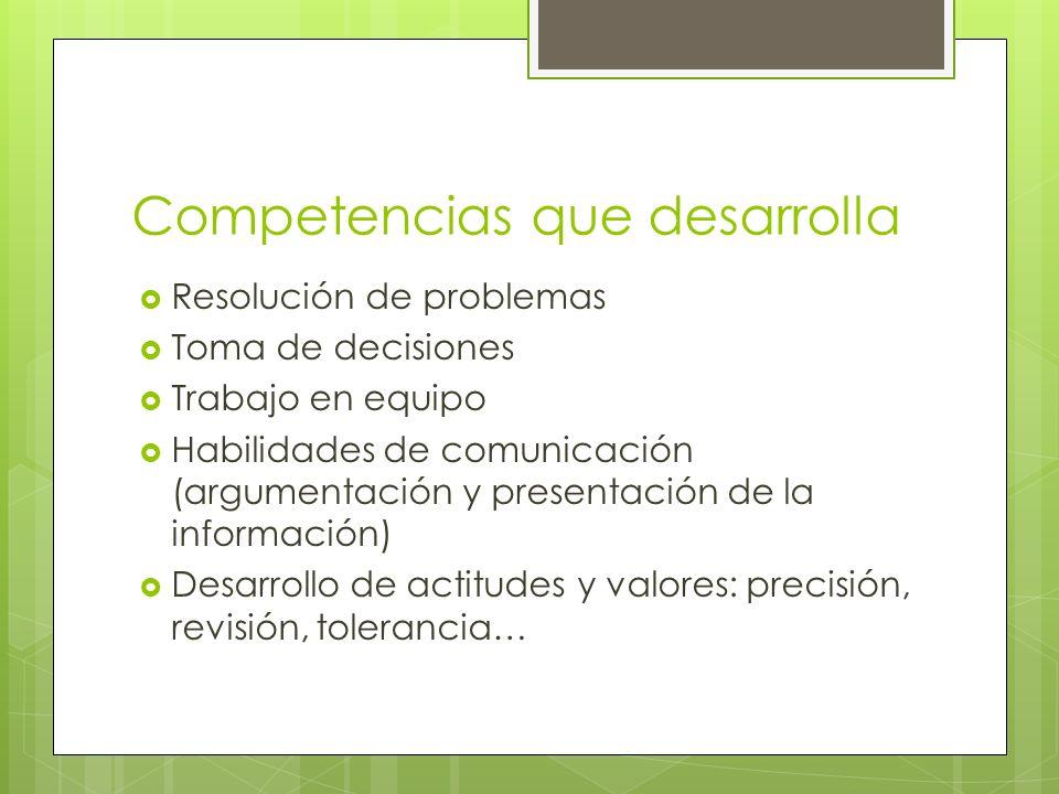 Competencias que desarrolla Resolución de problemas Toma de decisiones Trabajo en equipo Habilidades de comunicación (argumentación y presentación de