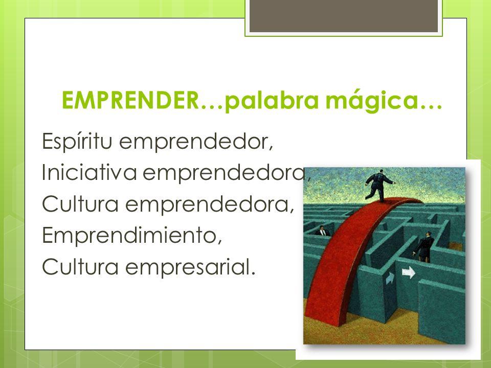 EMPRENDER…palabra mágica… Espíritu emprendedor, Iniciativa emprendedora, Cultura emprendedora, Emprendimiento, Cultura empresarial.