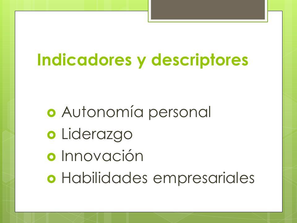 Indicadores y descriptores Autonomía personal Liderazgo Innovación Habilidades empresariales