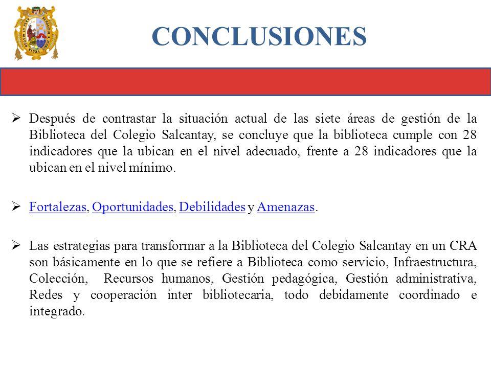Después de contrastar la situación actual de las siete áreas de gestión de la Biblioteca del Colegio Salcantay, se concluye que la biblioteca cumple c