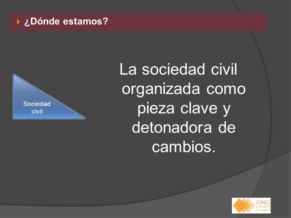 ¿Dónde estamos? La sociedad civil organizada como pieza clave y detonadora de cambios. Sociedad civil