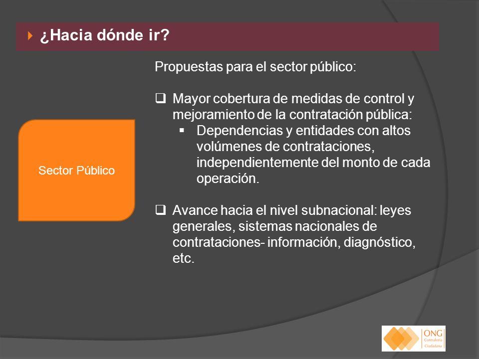 ¿Hacia dónde ir? Propuestas para el sector público: Mayor cobertura de medidas de control y mejoramiento de la contratación pública: Dependencias y en