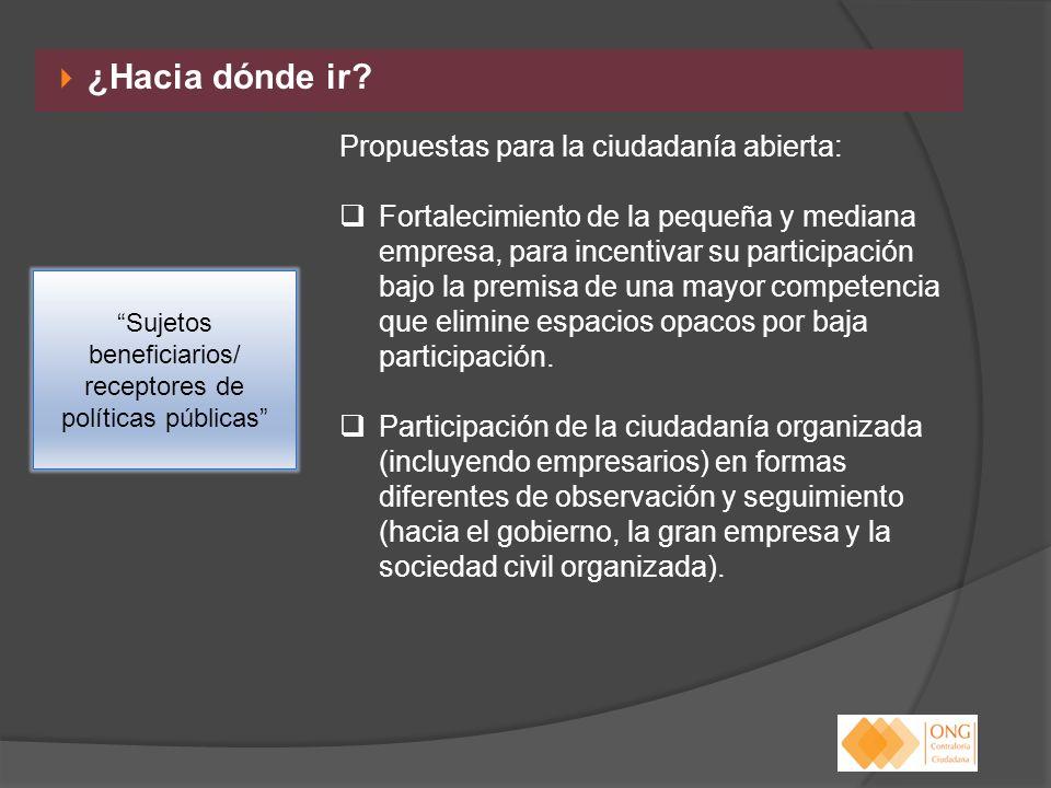 ¿Hacia dónde ir? Propuestas para la ciudadanía abierta: Fortalecimiento de la pequeña y mediana empresa, para incentivar su participación bajo la prem