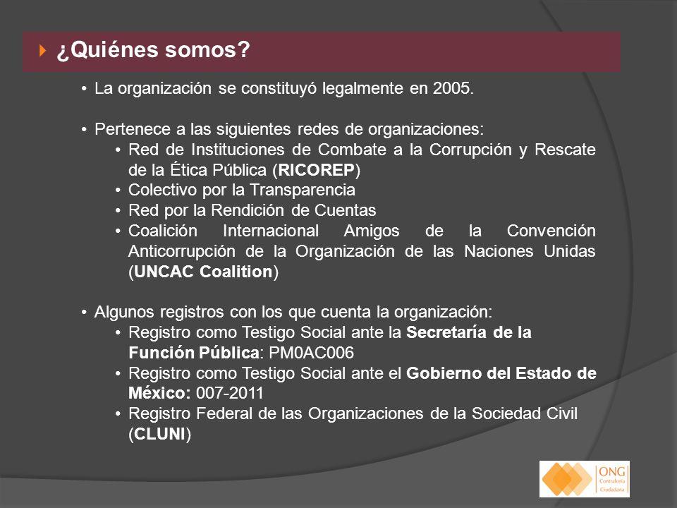 ¿Quiénes somos? La organización se constituyó legalmente en 2005. Pertenece a las siguientes redes de organizaciones: Red de Instituciones de Combate