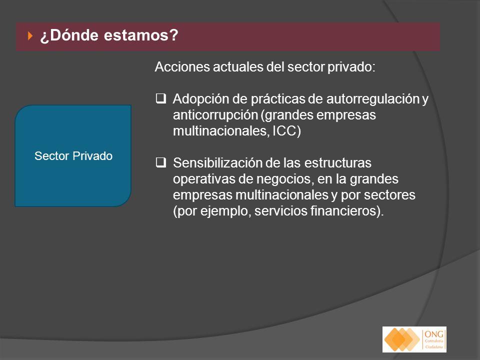 ¿Dónde estamos? Acciones actuales del sector privado: Adopción de prácticas de autorregulación y anticorrupción (grandes empresas multinacionales, ICC