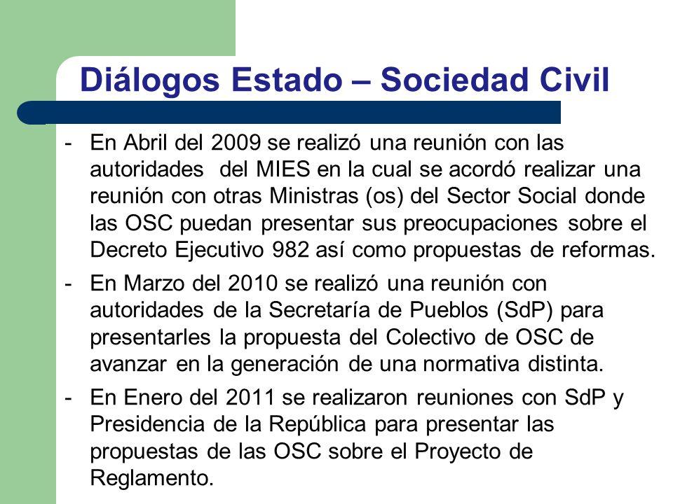 Diálogos Estado – Sociedad Civil -En Abril del 2009 se realizó una reunión con las autoridades del MIES en la cual se acordó realizar una reunión con otras Ministras (os) del Sector Social donde las OSC puedan presentar sus preocupaciones sobre el Decreto Ejecutivo 982 así como propuestas de reformas.