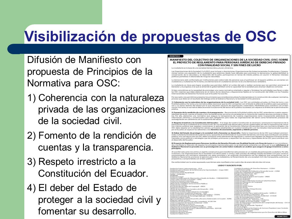 Difusión de Manifiesto con propuesta de Principios de la Normativa para OSC: 1) Coherencia con la naturaleza privada de las organizaciones de la socie