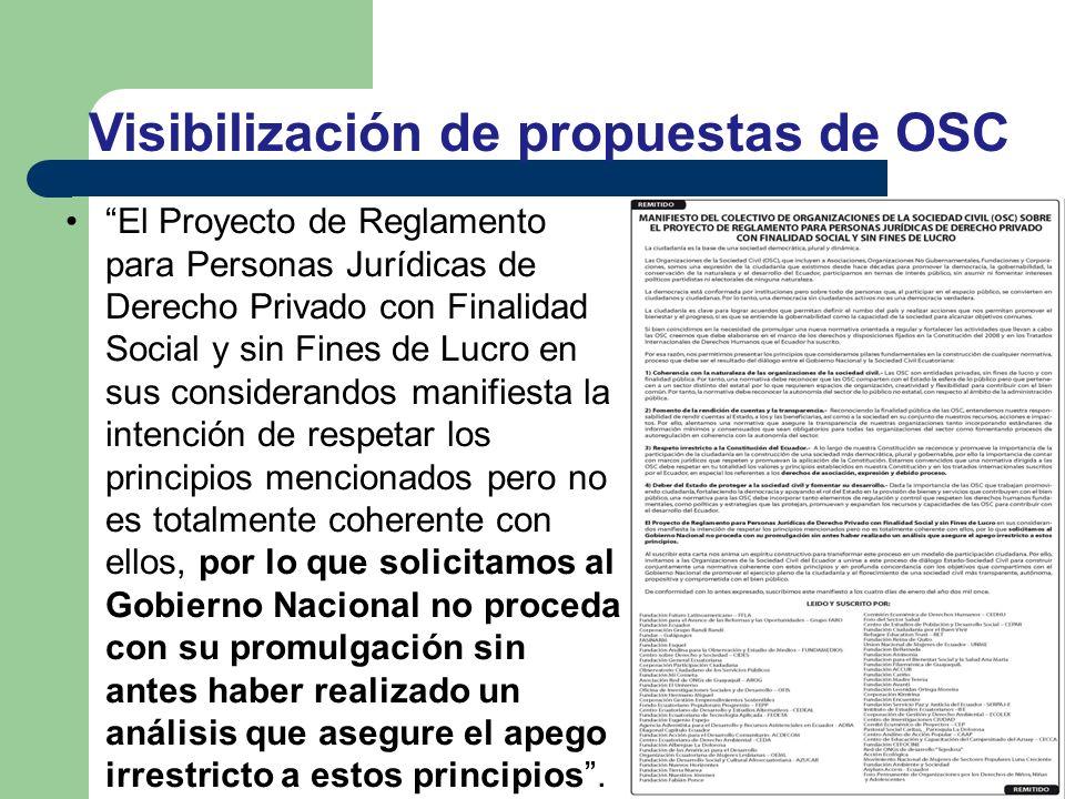 El Proyecto de Reglamento para Personas Jurídicas de Derecho Privado con Finalidad Social y sin Fines de Lucro en sus considerandos manifiesta la inte