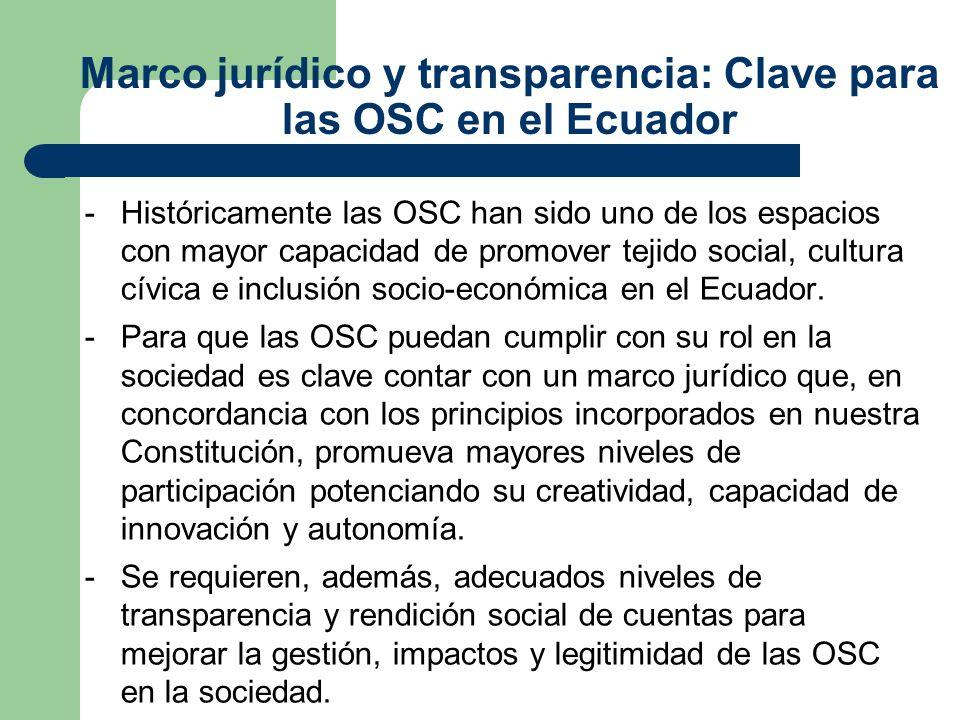 Marco jurídico y transparencia: Clave para las OSC en el Ecuador -Históricamente las OSC han sido uno de los espacios con mayor capacidad de promover tejido social, cultura cívica e inclusión socio-económica en el Ecuador.