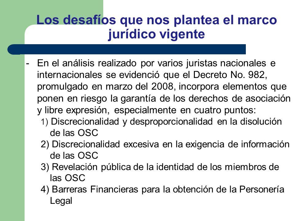 Los desafíos que nos plantea el marco jurídico vigente -En el análisis realizado por varios juristas nacionales e internacionales se evidenció que el Decreto No.