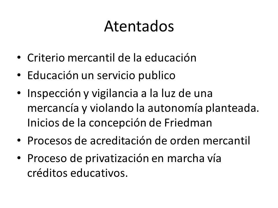 Atentados Criterio mercantil de la educación Educación un servicio publico Inspección y vigilancia a la luz de una mercancía y violando la autonomía p
