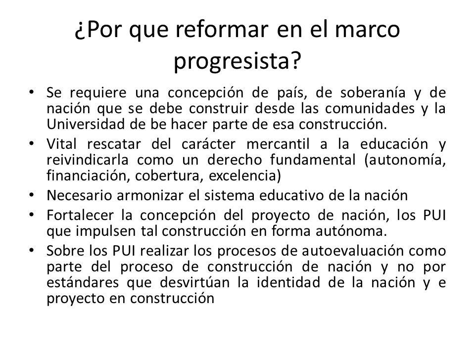 ¿Por que reformar en el marco progresista? Se requiere una concepción de país, de soberanía y de nación que se debe construir desde las comunidades y