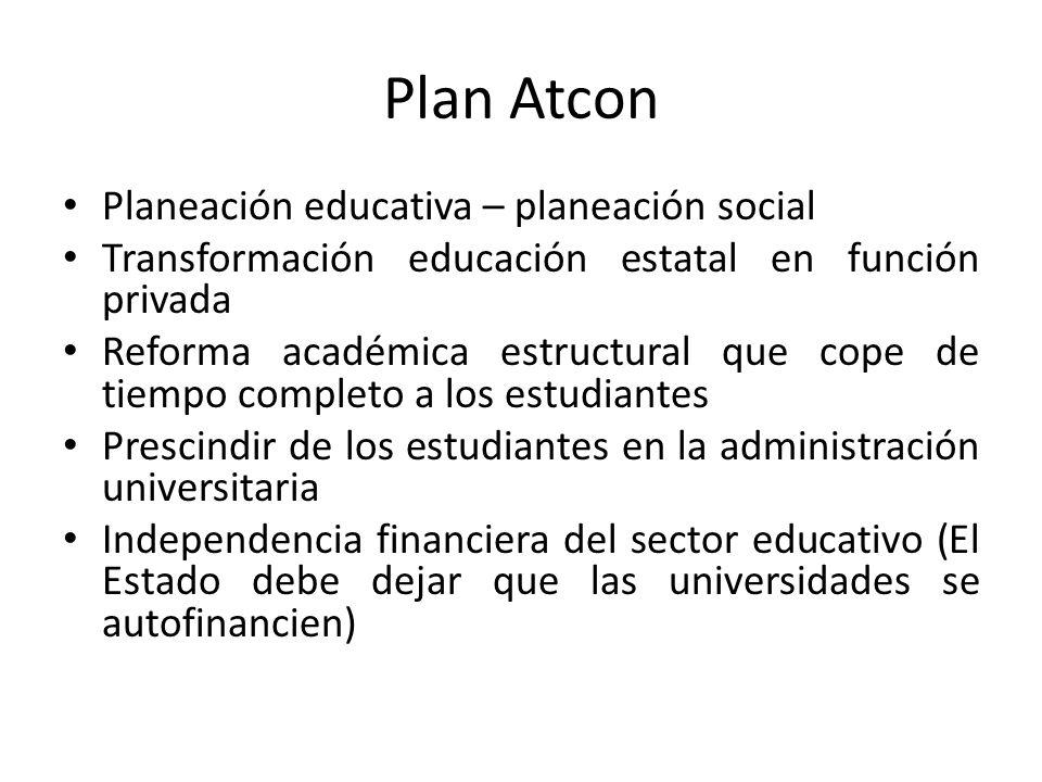 Plan Atcon Planeación educativa – planeación social Transformación educación estatal en función privada Reforma académica estructural que cope de tiem