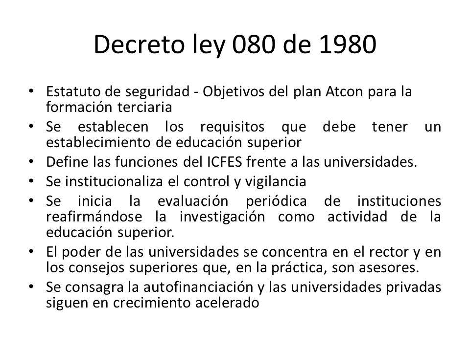 Decreto ley 080 de 1980 Estatuto de seguridad - Objetivos del plan Atcon para la formación terciaria Se establecen los requisitos que debe tener un es