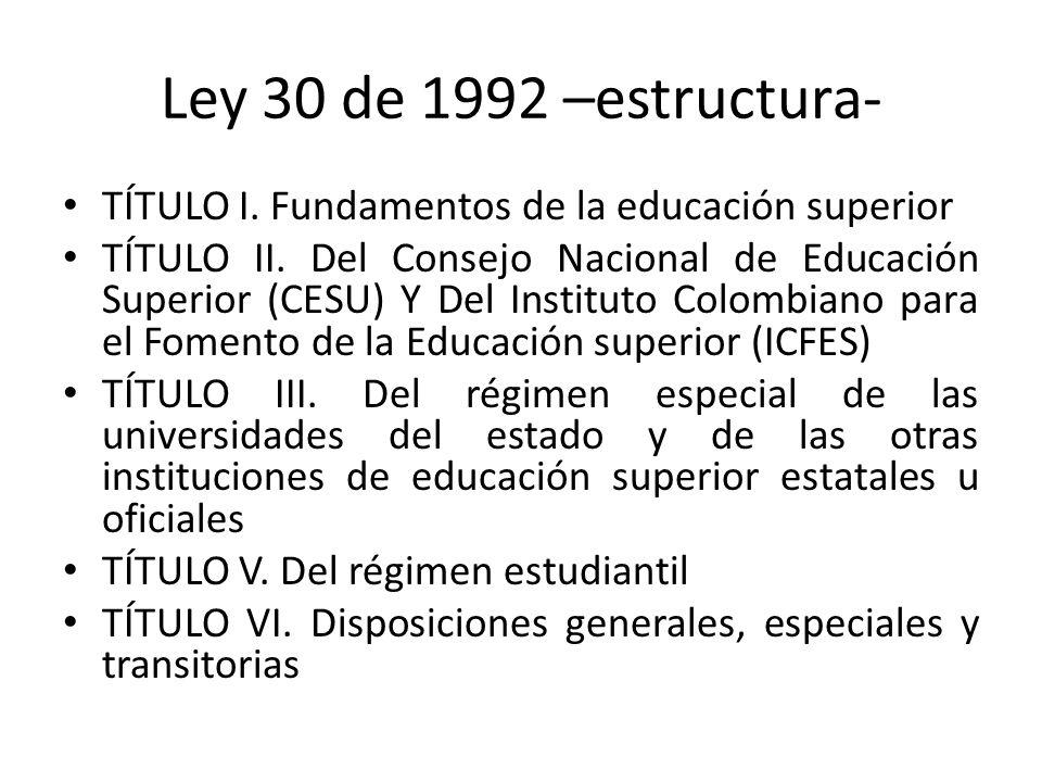 Ley 30 de 1992 –estructura- TÍTULO I. Fundamentos de la educación superior TÍTULO II. Del Consejo Nacional de Educación Superior (CESU) Y Del Institut