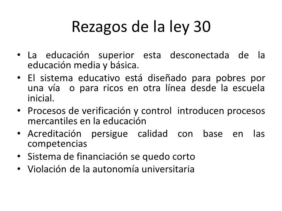 Rezagos de la ley 30 La educación superior esta desconectada de la educación media y básica. El sistema educativo está diseñado para pobres por una ví