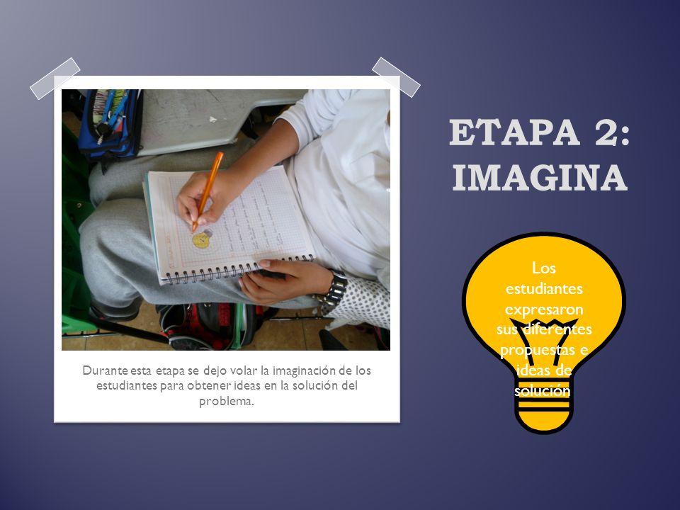 ETAPA 2: IMAGINA Durante esta etapa se dejo volar la imaginación de los estudiantes para obtener ideas en la solución del problema. Los estudiantes ex