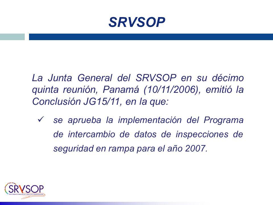SRVSOP La Junta General del SRVSOP en su décimo quinta reunión, Panamá (10/11/2006), emitió la Conclusión JG15/11, en la que: se aprueba la implementación del Programa de intercambio de datos de inspecciones de seguridad en rampa para el año 2007.