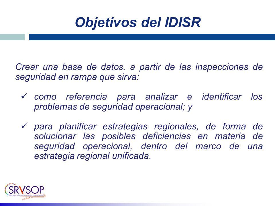 Objetivos del IDISR Crear una base de datos, a partir de las inspecciones de seguridad en rampa que sirva: como referencia para analizar e identificar los problemas de seguridad operacional; y para planificar estrategias regionales, de forma de solucionar las posibles deficiencias en materia de seguridad operacional, dentro del marco de una estrategia regional unificada.