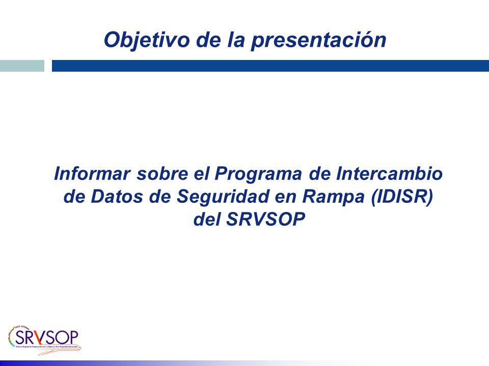 Objetivo de la presentación Informar sobre el Programa de Intercambio de Datos de Seguridad en Rampa (IDISR) del SRVSOP