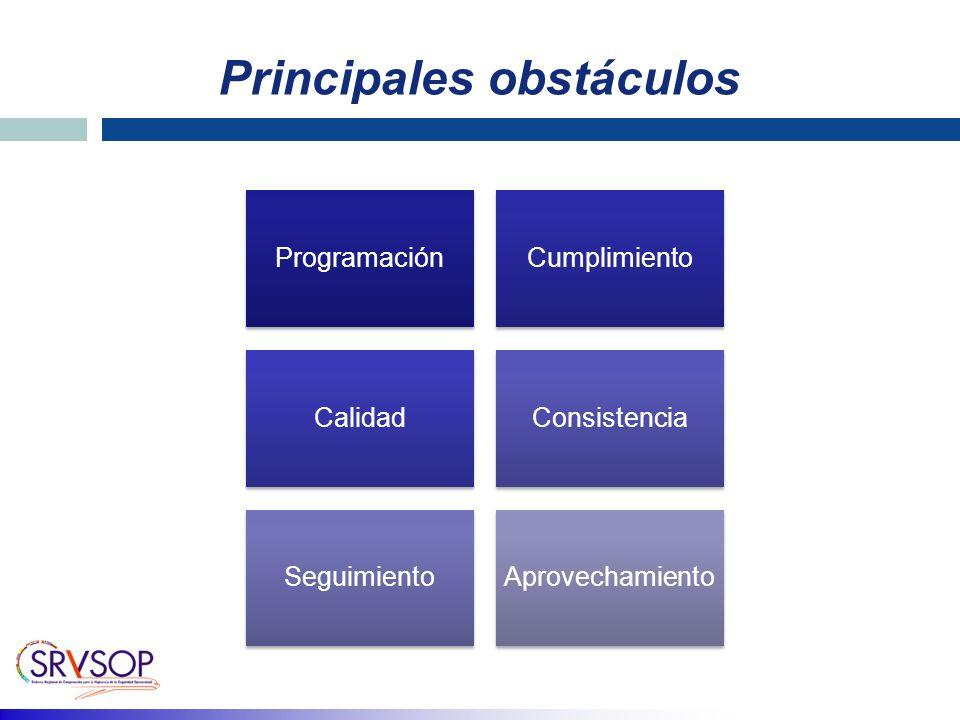 Principales obstáculos ProgramaciónCumplimiento CalidadConsistencia SeguimientoAprovechamiento