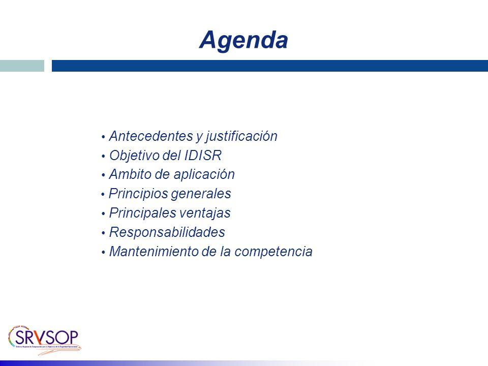 Agenda Antecedentes y justificación Objetivo del IDISR Ambito de aplicación Principales ventajas Responsabilidades Mantenimiento de la competencia Principios generales
