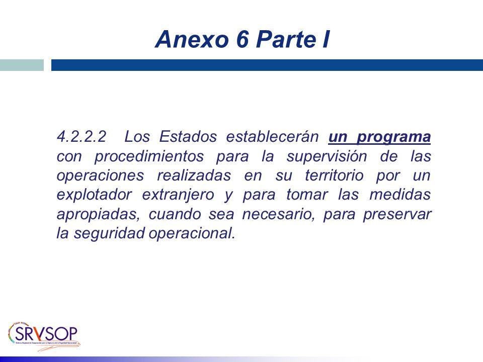 Anexo 6 Parte I 4.2.2.2 Los Estados establecerán un programa con procedimientos para la supervisión de las operaciones realizadas en su territorio por un explotador extranjero y para tomar las medidas apropiadas, cuando sea necesario, para preservar la seguridad operacional.
