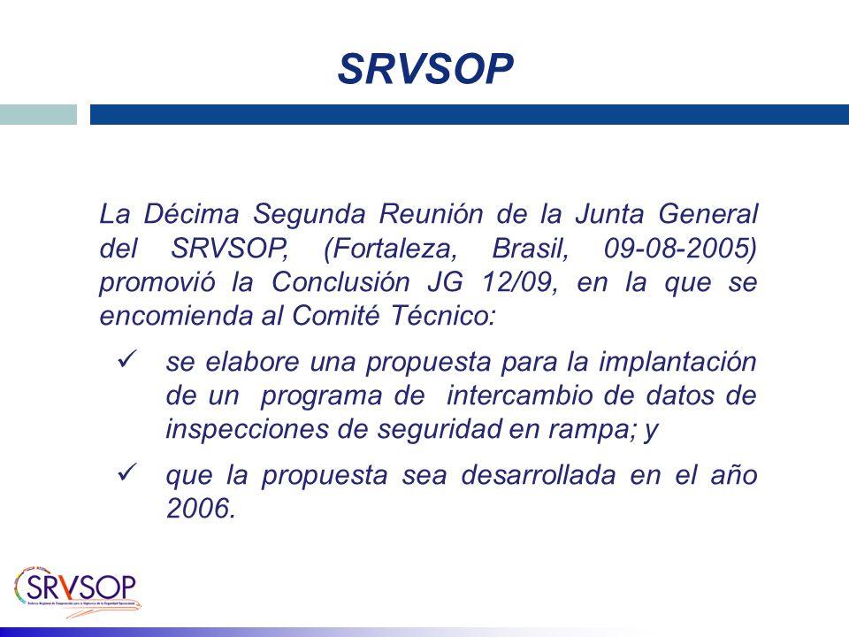 SRVSOP La Décima Segunda Reunión de la Junta General del SRVSOP, (Fortaleza, Brasil, 09-08-2005) promovió la Conclusión JG 12/09, en la que se encomienda al Comité Técnico: se elabore una propuesta para la implantación de un programa de intercambio de datos de inspecciones de seguridad en rampa; y que la propuesta sea desarrollada en el año 2006.