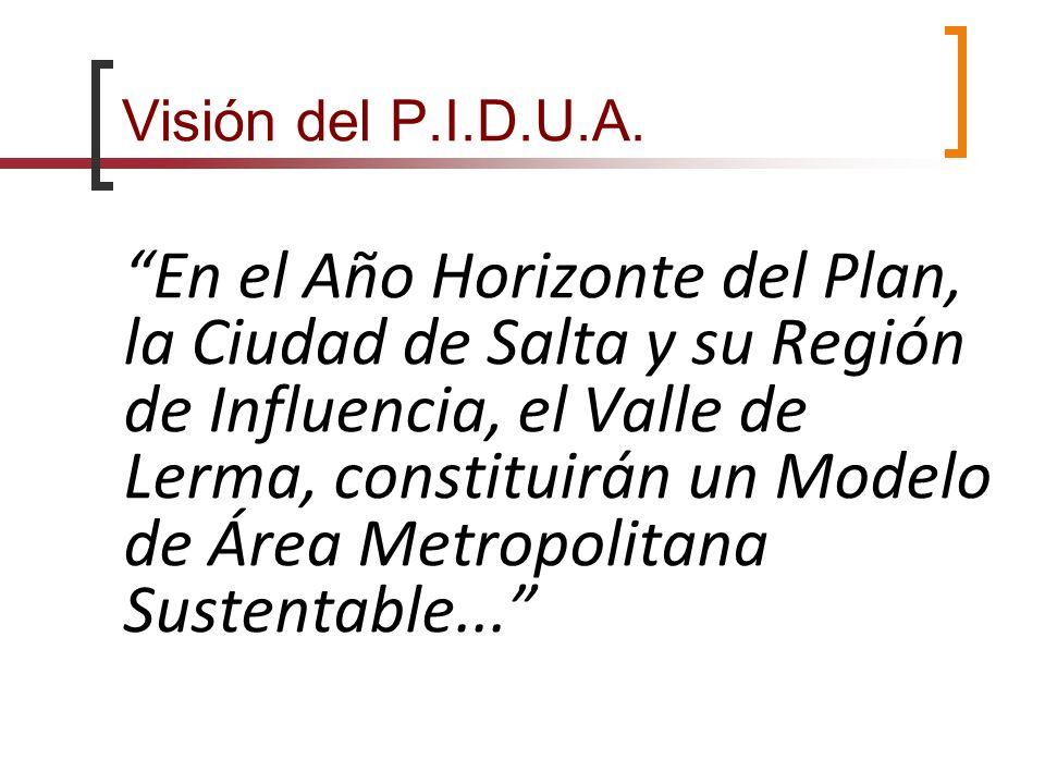 Visión del P.I.D.U.A. En el Año Horizonte del Plan, la Ciudad de Salta y su Región de Influencia, el Valle de Lerma, constituirán un Modelo de Área Me
