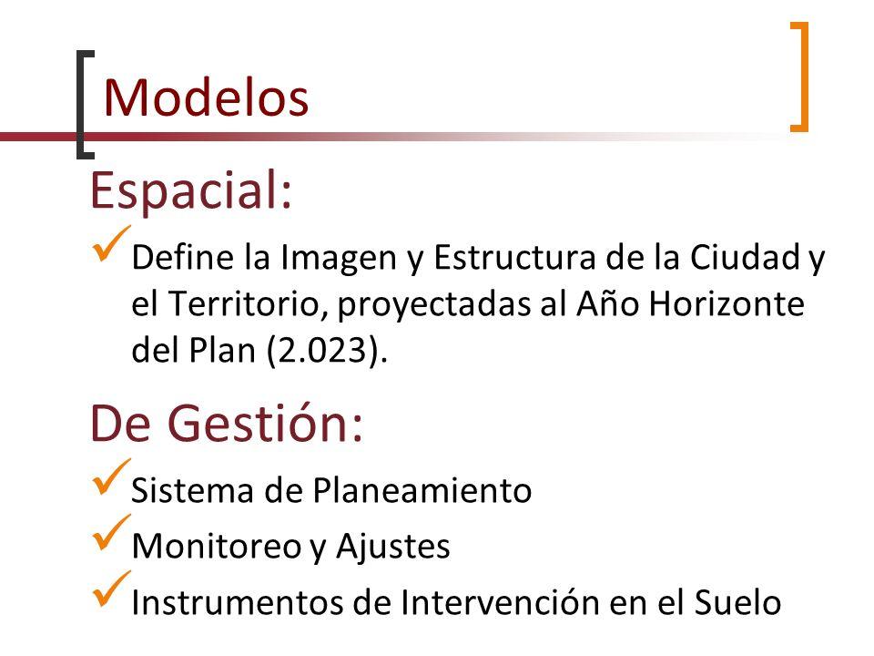 Modelos Espacial: Define la Imagen y Estructura de la Ciudad y el Territorio, proyectadas al Año Horizonte del Plan (2.023). De Gestión: Sistema de Pl