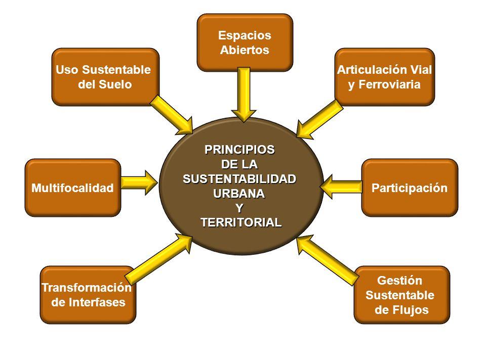 PRINCIPIOS DE LA SUSTENTABILIDADURBANAYTERRITORIAL Transformación de Interfases Multifocalidad Uso Sustentable del Suelo Participación Articulación Vi