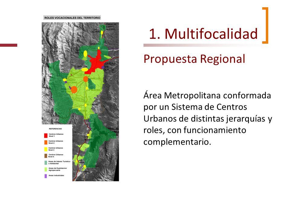 1. Multifocalidad Propuesta Regional Área Metropolitana conformada por un Sistema de Centros Urbanos de distintas jerarquías y roles, con funcionamien