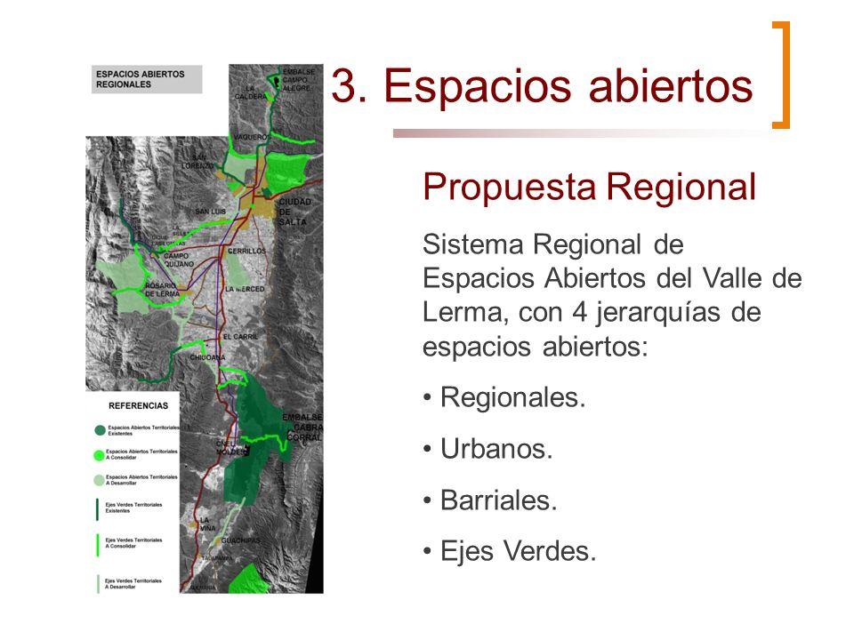 Propuesta Regional Sistema Regional de Espacios Abiertos del Valle de Lerma, con 4 jerarquías de espacios abiertos: Regionales. Urbanos. Barriales. Ej