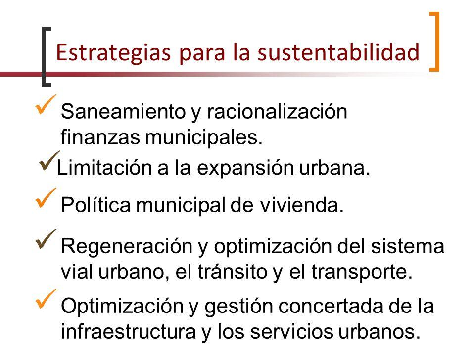Estrategias para la sustentabilidad Saneamiento y racionalización finanzas municipales. Limitación a la expansión urbana. Política municipal de vivien