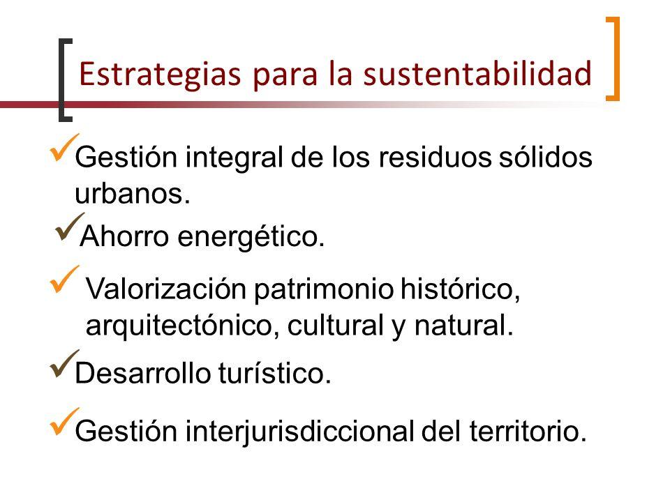 Estrategias para la sustentabilidad Gestión integral de los residuos sólidos urbanos. Ahorro energético. Valorización patrimonio histórico, arquitectó
